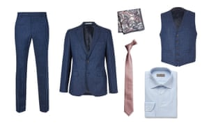 Linen indigo jacket, £99, waistcoat, £39.50, trousers , £49.50, all marksandspencer.com, shirt, £135, Canali, mrporter.com, tie and pocket square, £10, next.co.uk