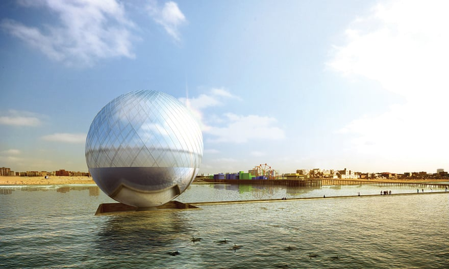 The Clear Orb is a proposed glass desalination dome 40 meters in diameter, lined with solar cells to generate power to pump seawater. Inside the orb, the sun's heat would distill the saltwater through evaporation and condensation. The project could generate 3,820 megawatt hours of electricity and 2.2m liters of fresh water a year. The underbelly of the orb is covered in fins that can turn wave action into electricity. Artists: Jaesik Lim, Ahyoung Lee, Jaeyeol Kim, Taegu Lim from Seoul, South Korea. Photograph: Land Art Generator Initiative