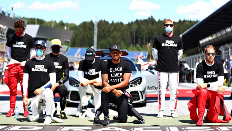Lewis Hamilton taking a knee with other drivers before the Austrian Grand Prix in July 2020.