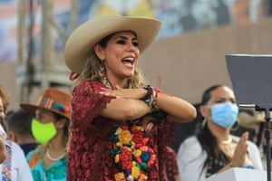 Acapulco, Mexico  Evelyn Salgado Pineda, who replaced her father as a candidate after he was accused of rape, celebrates her triumph in the elections, winning the governorship of the southern state of Guerrero