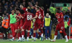 """Liverpool v Everton, Emirates FA Cup Third Round, Football, Anfield, UK - 05 Jan 2020<br>EDITORIAL USE ONLY No use with unauthorised audio, video, data, fixture lists, club/league logos or """"live"""" services. Online in-match use limited to 120 images, no video emulation. No use in betting, games or single club/league/player publications. Mandatory Credit: Photo by Paul Greenwood/BPI/REX/Shutterstock (10510223ch) Curtis Jones of Liverpool celebrates scoring his sides first goal with team mates to make the score 1-0 Liverpool v Everton, Emirates FA Cup Third Round, Football, Anfield, UK - 05 Jan 2020"""