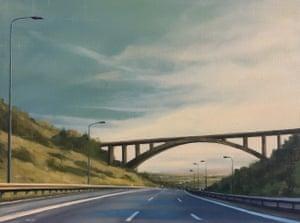 Leeds Bound motoway bridge painting by artist Jen Orpin.