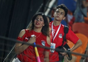 Egypt fans react after their side goes behind.