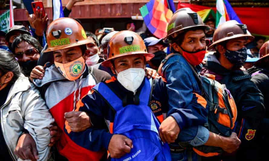 Supporters of Evo Morales gather in Villazón, Bolivia, on 9 November.