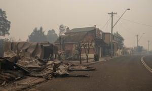 Bushfire-ravaged buildings in Cobargo, which lies in the NSW electorate of Eden-Monaro.