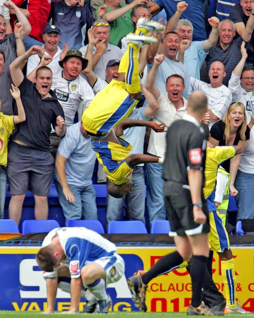 Tresor Kandol celebrates after scoring an 89th-minute winner against Tranmere Rovers in August 2007. This was Leeds' first ever game in the third tier of English football.
