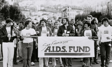 Thousands gather in a San Francisco parade raising concerns over Aids, 1983.