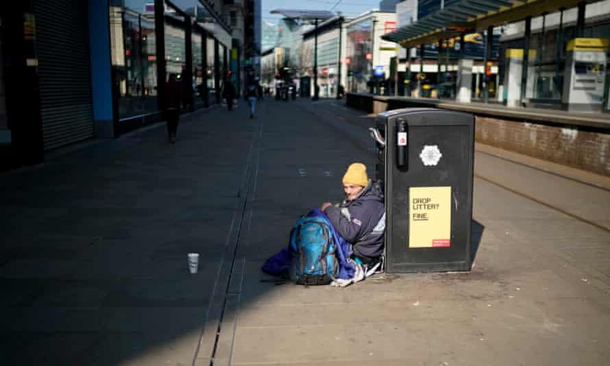 A homeless man in Manchester.