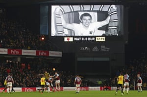 The giant screen shows former manager Graham Taylor in the 72nd minute of the match, commemorating two years since his death.