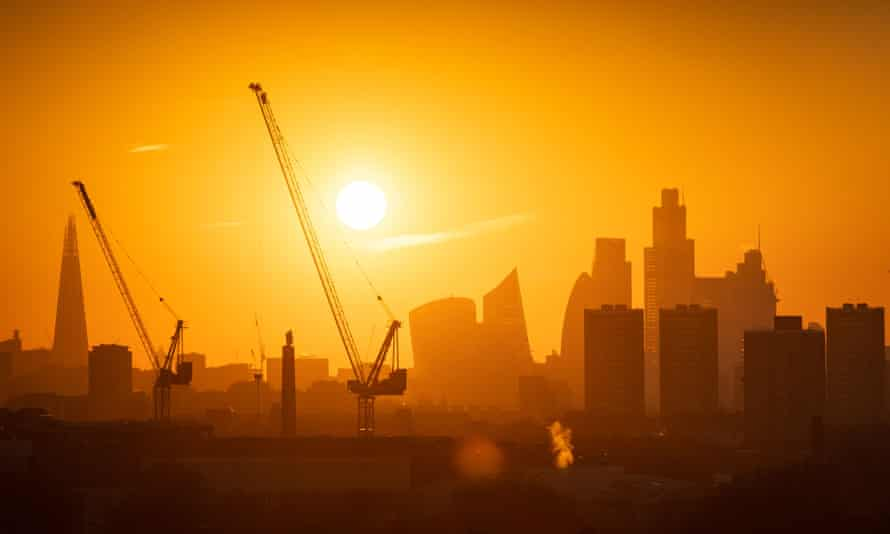 Cranes involved in construction work in London