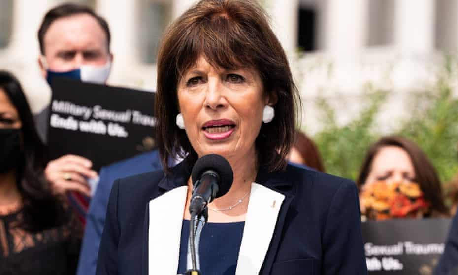 Representative Jackie Speier attends a press conference about the introduction of legislation to address the military's response to sexual violence and missing service members in September 2020.