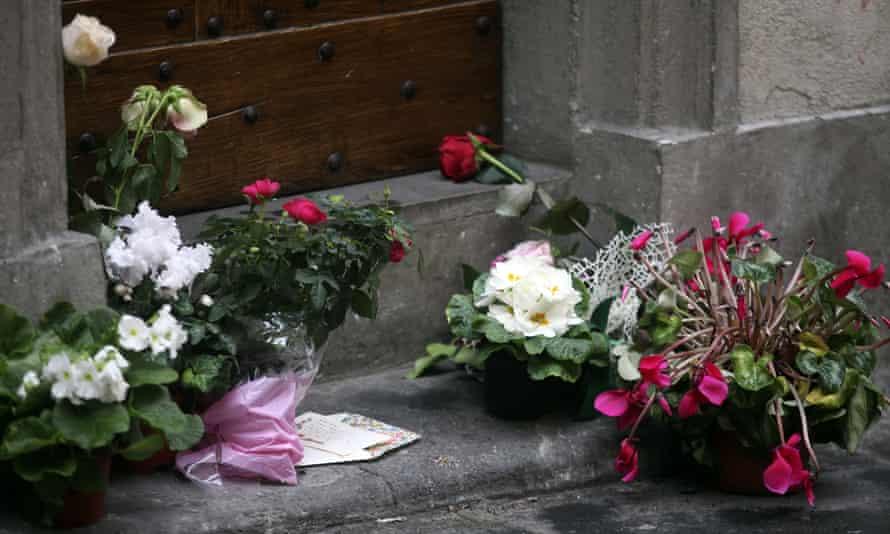 Flowers left in tribute to Olsen