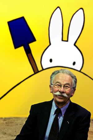 Dick Bruna posing at the opening of his exhibition Miffy Creations in the Hague in 2005.
