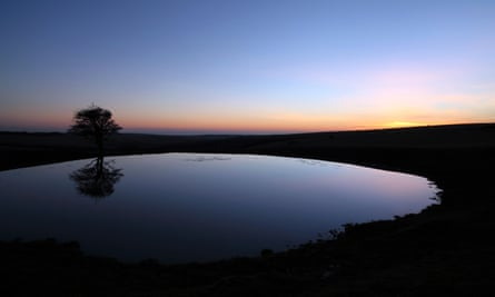 Dew pond on the South Downs at dusk.