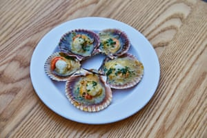 Roast queen scallops, sauternes butter, chives, at Littlefrench, Bristol.