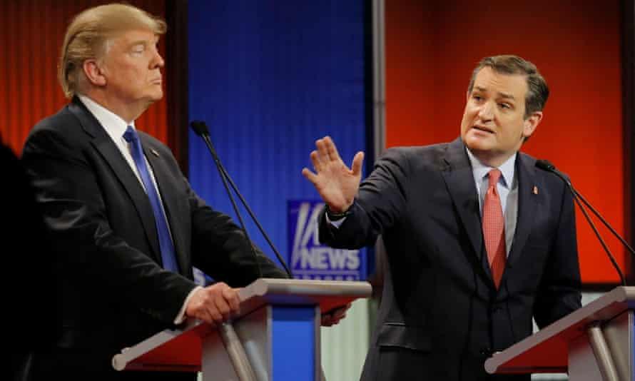 Ted Cruz gestures at Donald Trump