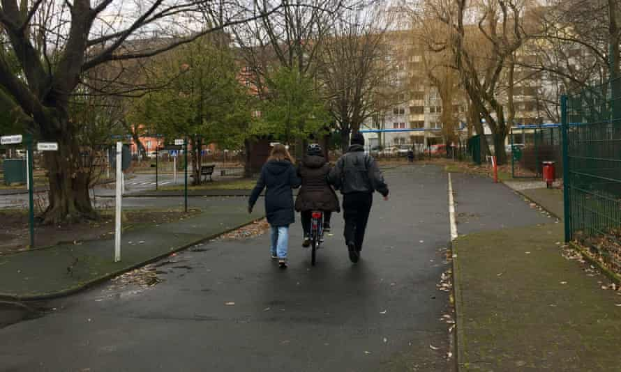 Bikeygees teach a refugee women how to cycle in a park in Kreuzberg