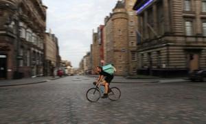 An Uber bike rider in Edinburgh
