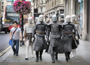 The Night King and White Walkers march through Oxford Circus to promote Game Of Thrones Season 7 in London