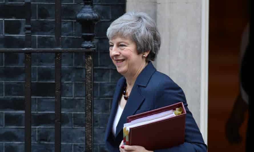 Theresa May leaving Downing Street for prime minister's questions on Wednesday