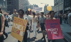 Representatives of the Buffalo Radical Lesbians take part in an LGBTA+ parade through New York City on Christopher Street Gay Liberation Day 1971.