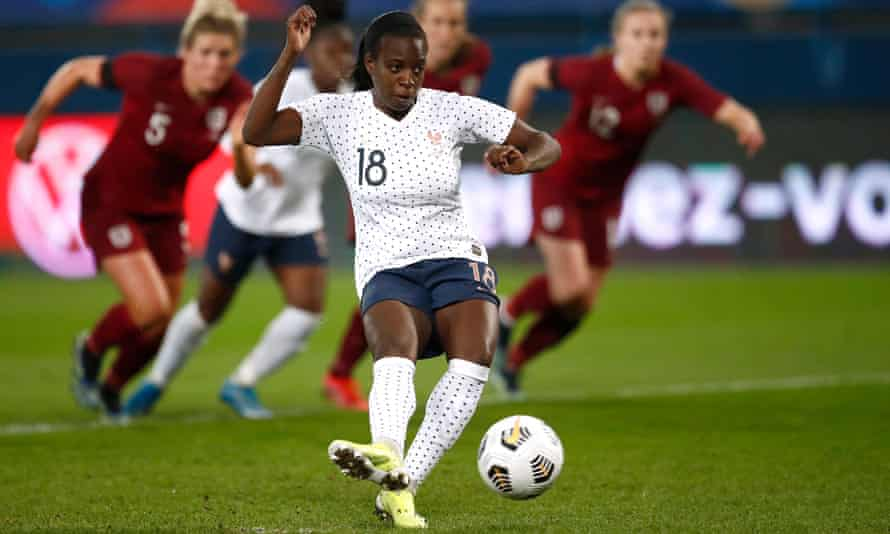 Viviane Asseyi scores France's second goal from the penalty spot in last month's friendly against England