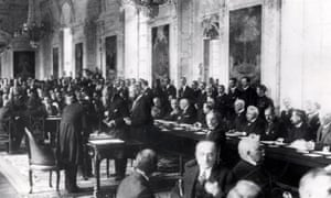 A scene during the Versailles peace conference, June 1919.
