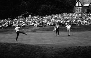 18 June 1967. Palmer watches Jack Nicklaus celebrate after he sank a birdie on the 18th hole to win the US Open in Springfield, New Jersey. Palmer had to settle for second place.
