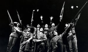 Peter Nichols, centre back, with the cast of Privates on Parade.
