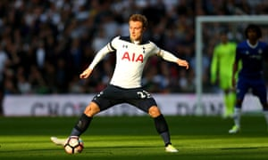 Christian Eriksen gets on the ball during Tottenham's FA Cup semi-final with Chelsea.