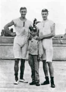 1900 Olympic coxed pair rowing champions François Brandt and Roelof Klein with the unknown boy who steered the boat for the final in 1900.