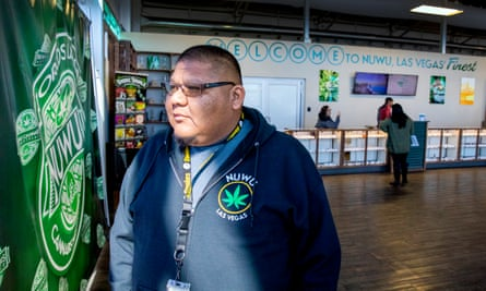 Benny Tso, the former chair of the Las Vegas Paiutes, stand inside Nuwu Cannabis Marketplace. The dispensary is owned by the Las Vegas Paiute Tribe.
