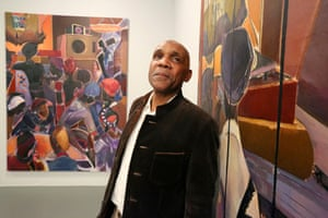 Denzil Forrester at an exhibition of his work in New York.