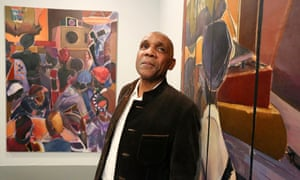Denzil Forrester at an exhibition of his work.