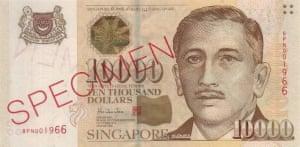 $10,000 Singapore dollars bank note