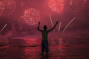 Fireworks over Rio's Copacabana Beach for New Year's celebrations.