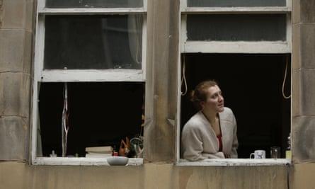 Student Caroline Norton in her flat on Cockburn Street, Edinburgh.