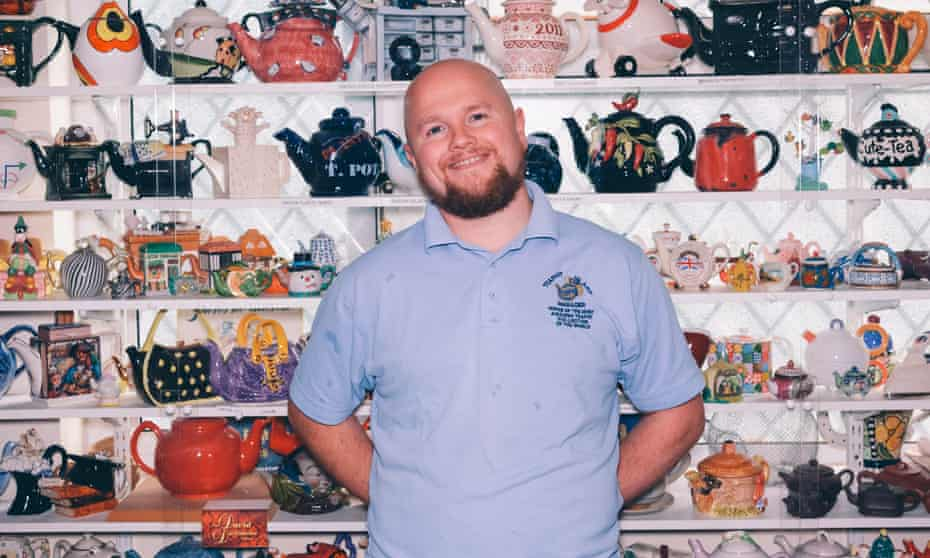 Time for a brew: Luke Blaze with some of his 8,500 teapots.