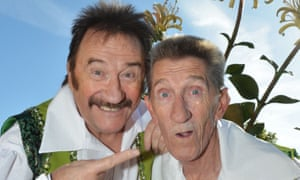 Barry Chuckle, right, with his brother, Paul, dressed in their costumes for The Chuckles of Oz pantomime in Darlington, 2014.
