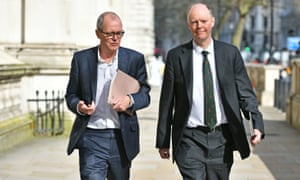 The UK government's chief scientific adviser, Patrick Vallance (L) and chief medical officer, Chris Whitty, en route to a Cobra meeting in Whitehall.