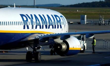A Ryanair aircraft on the tarmac at Frankfurt-Hahn airport, Germany
