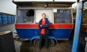 Chef Sam Pinnock beside his old dodgem kiosk