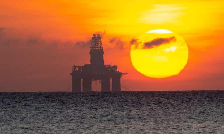 A redundant oil platform moored off Kirkcaldy, east coast of Scotland.