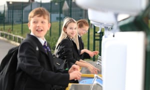 Pupils washing their hands earlier today on the first day back to school at Outwood Academy Adwick in Doncaster.