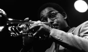 The trumpeter Wynton Marsalis photographed by Jak Kilby at the Albany Empire, Deptford, London, 1982.
