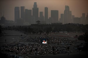 Los Angeles Dodgers' fans watch game two of the World Series 2020 between the Tampa Bay Rays and Los Angeles Dodgers at a drive-in organised on the grounds of the Dodger Stadium amid the coronavirus pandemic.