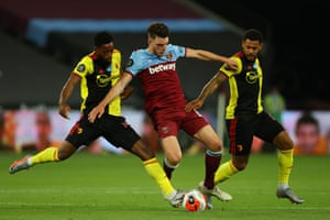 Declan Rice battles for possession with Watford's Nathaniel Chalobah and Andre Gray.