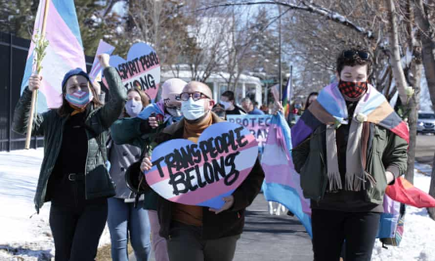 A march in South Dakota on 11 March protesting against a proposed ban on transgender girls and women from female sports leagues.