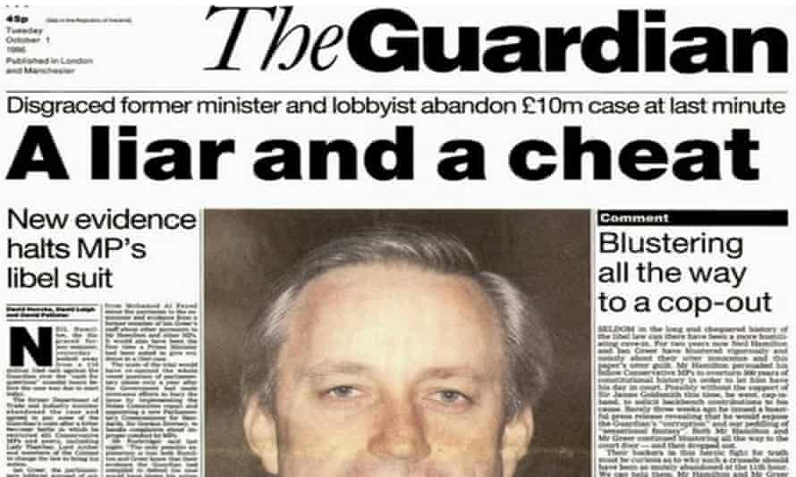 Guardian front page on Neil Hamilton in October 1996.
