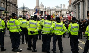 Police block Extinction Rebellion protesters in Whitehall on Wednesday.